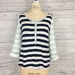 Boden striped Henley roll tab sleeve top